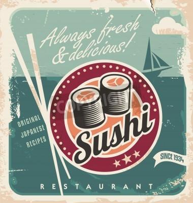 Poster Poster d'epoca per il ristorante giapponese. Retro sfondo vettoriale con rotoli di sushi.