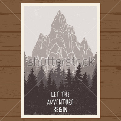 Poster Poster di foresta conifere selvatiche con la montagna; pino, paesaggio natura, legno panorama naturale; campeggio avventura all'aria aperta, escursioni, turismo, modello di design; illustrazion