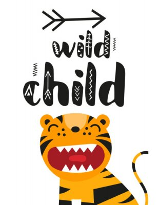 Poster Poster for nursery scandi design with cute roar tiger and text Wild child in Scandinavian style. Vector Illustration. Kids illustration for baby clothes, greeting card, wrapper.