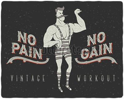 Poster Poster vintage con uomo forte del circo e slogan:
