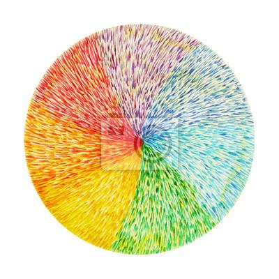 Poster Potenza 7 chakra di colore segno simbolo, simbolo colorato fiore di loto