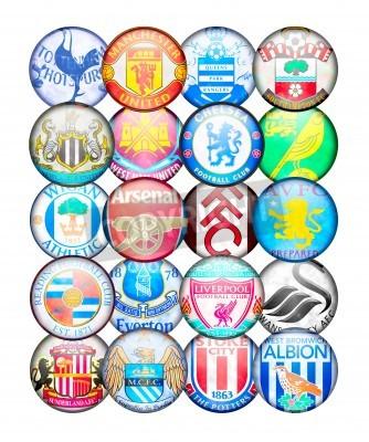 Poster Premier League Squadre 2012/13: Colori e cartellini di inglese Football Club