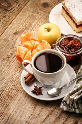 Poster Prima colazione con caffè e frutta