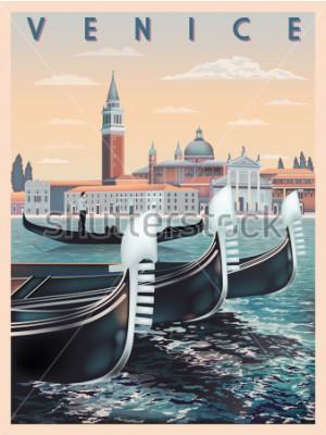 Poster Primo mattino a Venezia, Italia. Viaggiare o postare il modello di carta. Tutti gli edifici sono oggetti diversi. Illustrazione vettoriale di disegno a mano. Stili vintage.