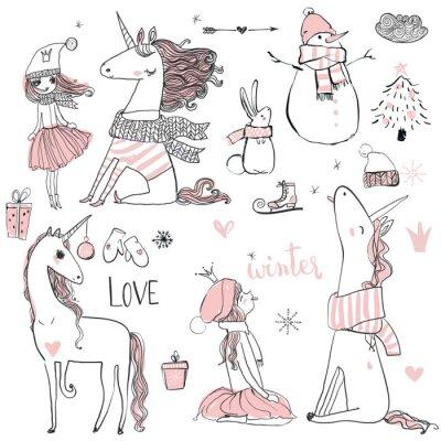 Poster principessa Doodle con unicorno