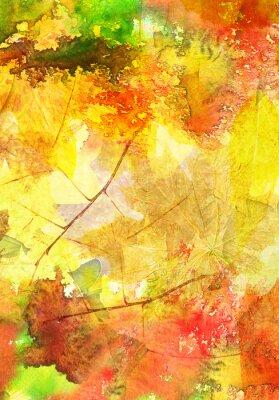 Poster Priorità bassa dell'acquerello con foglie di autunno