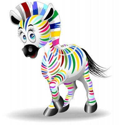 Poster Processo Zebra Cartoon quadricromia-quattro colori Zebra-Vector