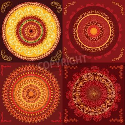 Poster Progetto Henna Mandala colorato, molto elaborato e facilmente editabili