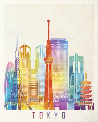 Poster Punti di riferimento di Tokyo manifesto acquerello