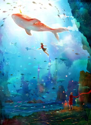 Poster Pure, literary, small and fresh, illustrations, beautiful women, girls, girls, fairy tales, dreams, fantasies, dreams, cities, castles, seabed, whales, deep sea, girls, schools of fish, oceans,