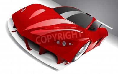 Poster quasi correndo macchina rossa, a strati, completamente modificabile