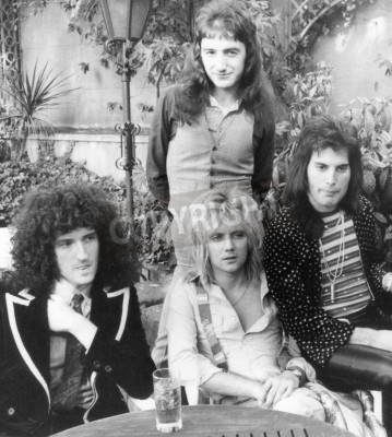 Poster QUEEN - UK group in 1976 from l  Brian May, Roger Taylor, John Deacon and Freddie Mercury