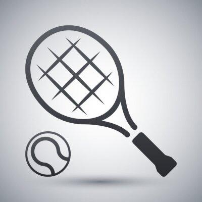 Poster Racchetta da tennis e palla da tennis, icona del vettore