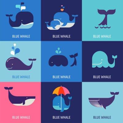 Poster Raccolta di vettore balena icone