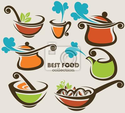 Raccolta vettore di attrezzature da cucina e dei simboli alimentari ...
