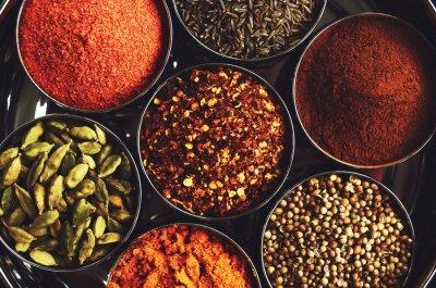 Poster Rack con spezie tradizionali indiani per la cottura - cardamomo, curcuma, cumino, semi di coriandolo, cannella e peperoncino