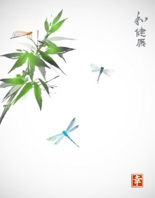 Poster Ramo di bambù e tre libellule