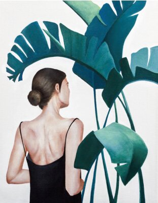 Poster realistic acrylic painting of woman with green plants