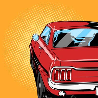 Poster Red auto stile fumetto di vettore