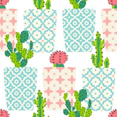 Poster Reticolo di vettore con cactus. fiori di cactus svegli in vasi ornamentali. disegno a mano illustrazione.