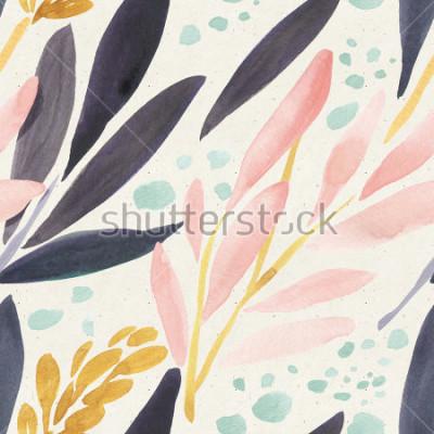 Poster Reticolo senza giunte dell'acquerello su struttura di carta. Sfondo floreale