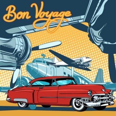 Poster Retro automobile rossa sull'arte stile retrò pista pop