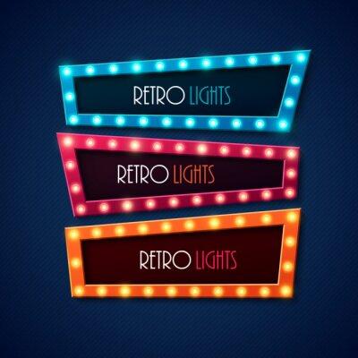 Poster Retro banner con brillanti luci. Illustrazione vettoriale.