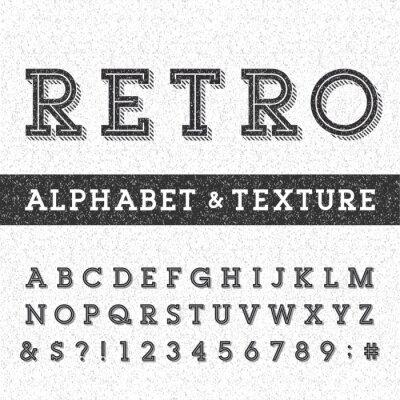 Poster Retro carattere alfabeto vettore con angosciata overlay texture. Serif tipo lettere, numeri e simboli su uno sfondo in difficoltà graffiata. Vettoriali tipografia per le etichette, i titoli, poster ec