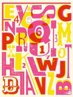 Poster Retro Lettere e numeri