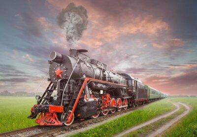 Poster Retro locomotiva a vapore sovietico