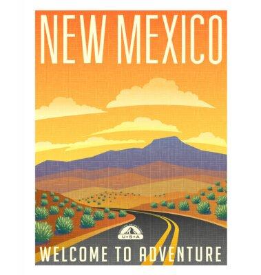 Poster Retro manifesto viaggio stile o adesivo. Stati Uniti, Messico, nel deserto paesaggio di montagna.