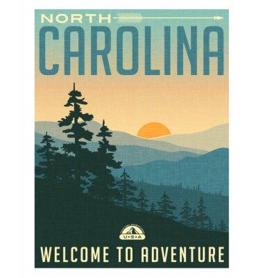 Poster Retro manifesto viaggio stile o adesivo. Stati Uniti, North Carolina, Great Smoky Mountains