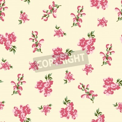Poster Retro rose seamless in village style