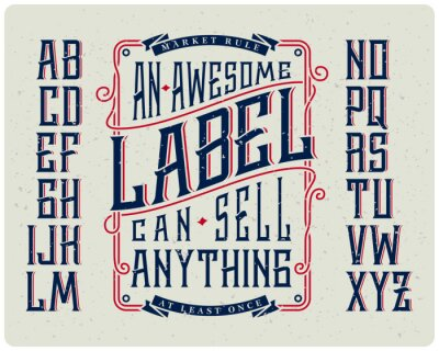 Poster Retro set di font con ornamento cornice per rendere la progettazione di etichette