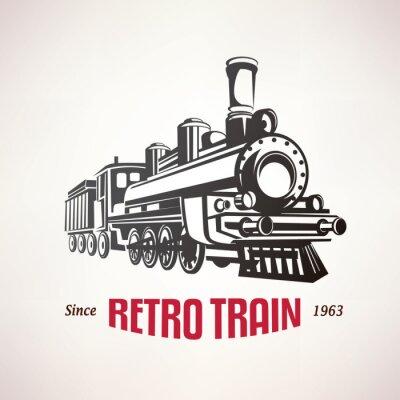 Poster retro treno, simbolo vettore, emblema, modello di etichetta