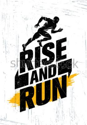 Poster Rise And Run. Concetto maratona del manifesto di citazione di motivazione di evento di sport. Illustrazione di tipografia di stile di vita attiva sulla priorità bassa di Grunge con struttura