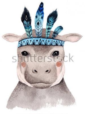 Poster Ritratto di acquerello ippopotamo, design carino boho con piume. Stampe vivaio con animali, poster e cartoline.
