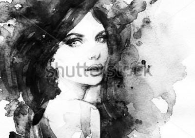Poster Ritratto di donna. Acquerello astratto. Priorità bassa di moda