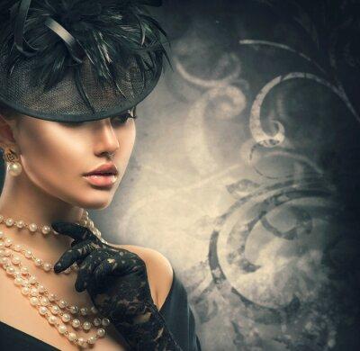Poster Ritratto di donna Retro. Ragazza di stile Vintage indossando vecchio cappello stile