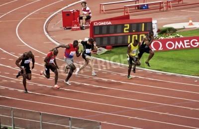 Poster ROMA. 31 maggio: Usain Bolt corre e vince 100 m gara di velocità a Golden Gala allo Stadio Olimpico il 31 maggio 2012 a Roma