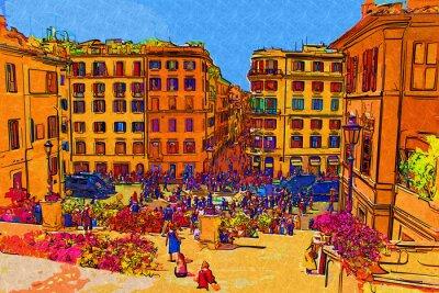 Poster Roma Italia di arte astratta