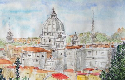 Poster Roma panoramica acquerello