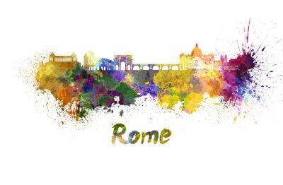 Poster Roma skyline in acquerello