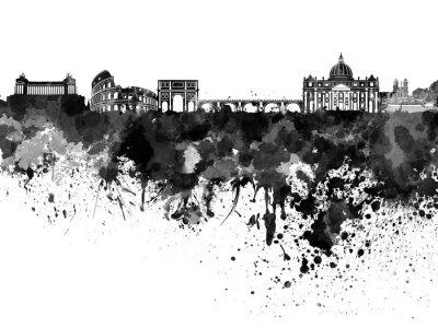 Poster Roma skyline in acquerello nero