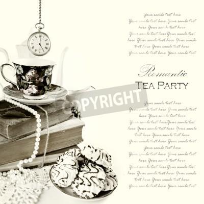 Poster Romantic ore English 5 Tea Party Sfondo con orologio da tasca d'epoca e dolci