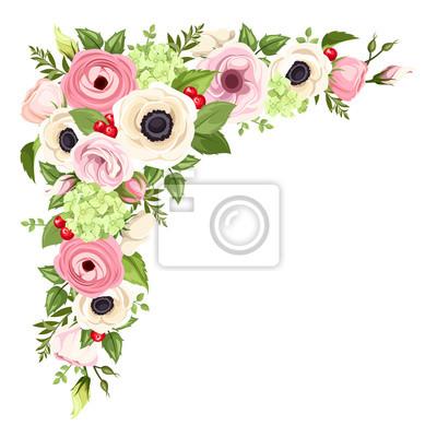 Fiori Rosa E Bianchi.Rosa E Fiori Bianchi Vector Angolo Sfondo Manifesti Da Muro