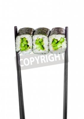 Poster Rotolo maki Kappa. Sushi Roll su uno sfondo bianco