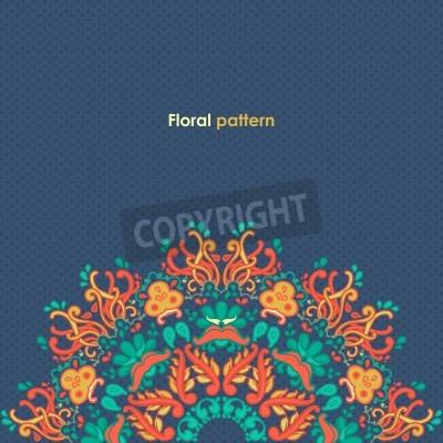 Poster Rotondo ornamentale floreale pizzo modello caleidoscopico motivo floreale, mandala
