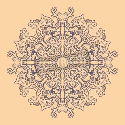 Poster Rotondo ornamentale floreale pizzo. motivo floreale caleidoscopico, mandala.