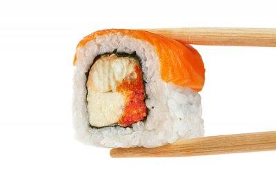 Poster Rulli di sushi con salmone, anguilla, caviale e formaggio philadelphia. Ch